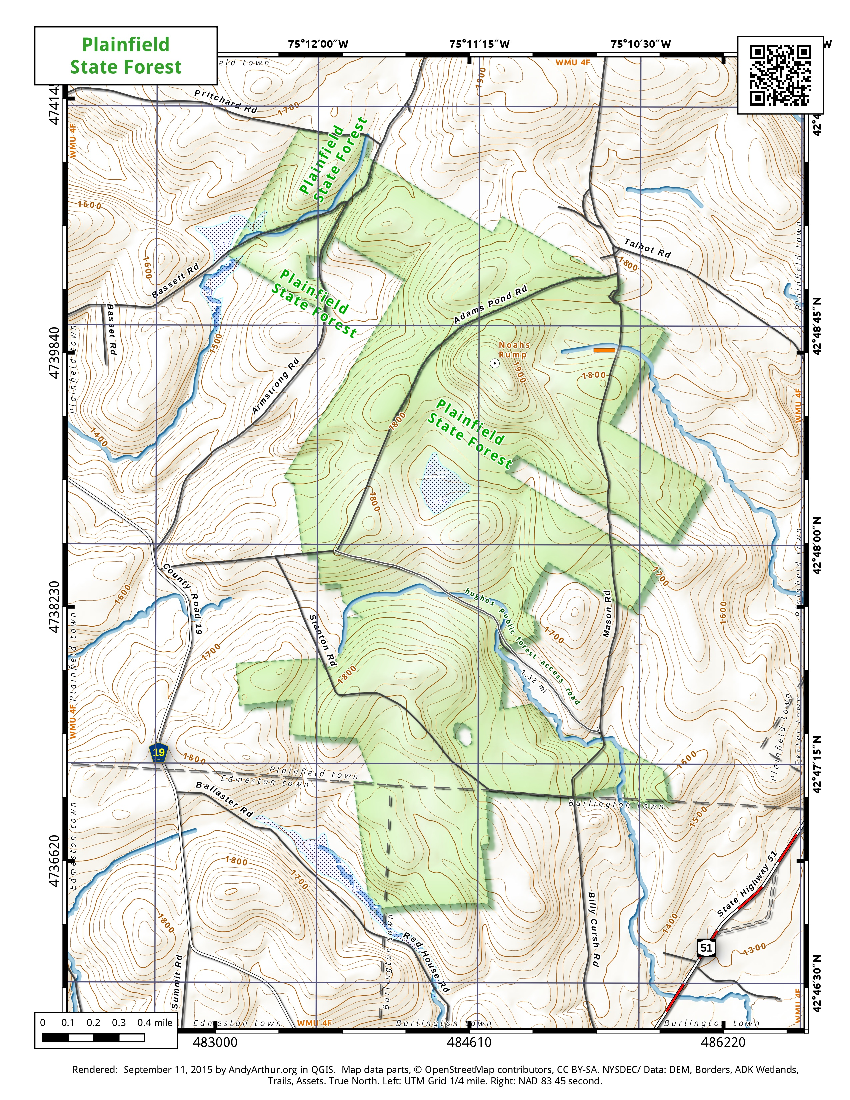 Map: Plainfield State Forest